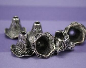 DESTASH Tibetan Silver Flower Shaped Bead Caps 6 pcs, Ornate Bead Cones, Tibetan Silver Findings
