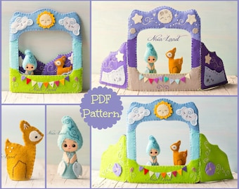Puppet theatre Sun and Moon and fairy and deer finger puppets. (Pdf Pattern)