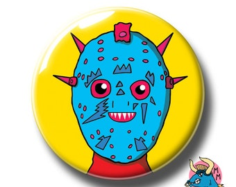 Robotix Badge. Badge. Robot Pin. Halloween Badge. Halloween Pin. Pin Badge. Pin Badges. Badges. Button Badges. Pins. Horror Badge. Pinback.