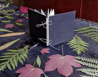 Plant Press Book Mini Black / Flower Press / Black Cotton Paper Book / Hand bound / Plant Gathering / Bow / Coptic Bound