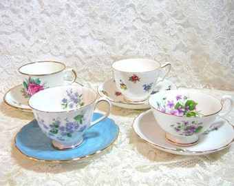 Mix And Match English Teacup And Saucer Collection