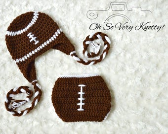Handmade Crochet Baby Football Set with Earflap hat and braids, and diaper cover. Perfect Baby Shower Gift or Newborn Photo Prop. NB to 6 m.