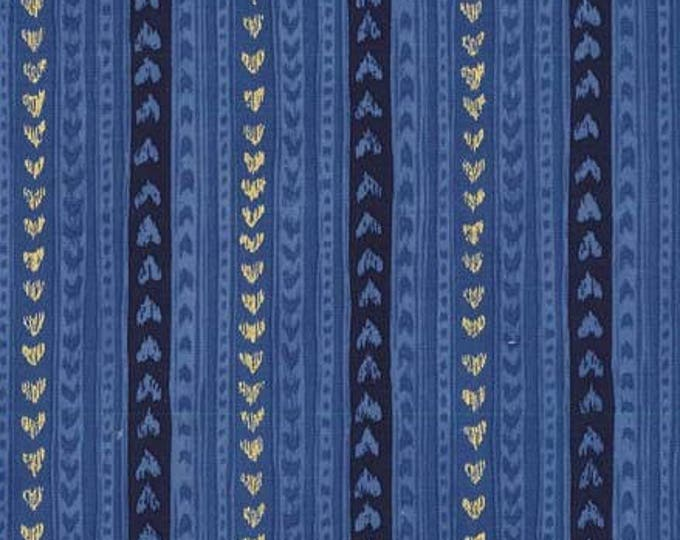 Cat's Cradle by Michael Miller - Love Lines Navy Metallic  - Cotton Woven Fabric