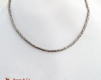 Byzantine Style Ornate Short Chain Necklace Sterling Silver 1980