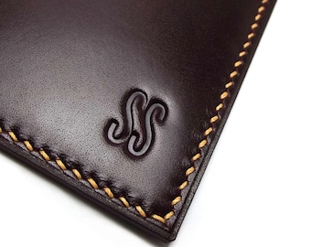 Personalized Leather Card Holder, Vertical, Naturally Tanned Leather, Monogrammed, Redwood, Burgundy, Oxblood