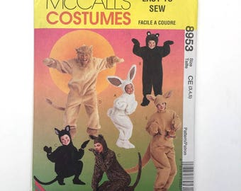 McCall's Costumes 8953 One Piece Full Body Suit Bunny Bear Cat Lion Kangaroo Kids 3 4 5 Uncut Sewing Pattern