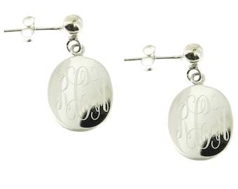 925 Sterling Silver Oval Monogram Personalized Ball Stud Drop Earrings