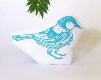 Bird Shaped Animal Pillow. Woodblock Printed. Choose Any Color. Made to Order.