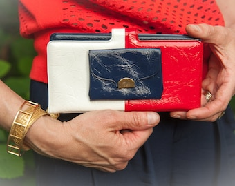 Vintage Red, White, Blue and Gold Wallet Made in Texas 1970's