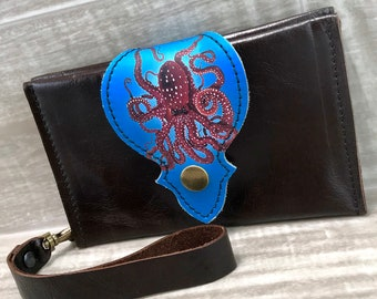 Leather Wallet fits Passport/ Phone with Wrist Strap & Zipper Pocket, Dark Brown/ Octopus  Print on 100% Genuine Leather