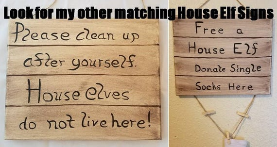 House elves sign clean up after yourself sign geeky home house elves sign clean up after yourself sign geeky home decor dobby sock sign free dobby sign harry potter gift gifts for geeks solutioingenieria Images