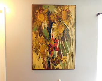 Vintage huge Mid Century over sized oil painting  shaggy sunflowers palette knife painting