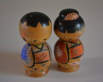 Pair of kokeshi dolls, miniature, vintage Japanese #8
