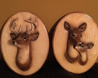 Vintage Deer Chalkware Plaques// Vintage Wall Decor