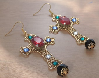 Byzantine Cross Earrings, Baroque Statement, Rococo, Ornate, Gold, Red, Large, Italian Designer Inspired, Swarovski Rhinestones, Fashion