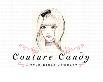 Couture Candy- Girls Couture - OOAK Character Illustrated Premade Logo design-Will not be resold