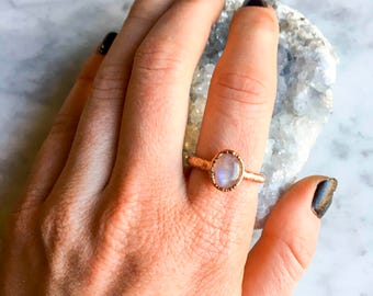 Rainbow Moonstone Ring Size 7 1/2