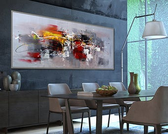 """Large Abstract painting Panoramic ContemporaryPalette Knife Painting Gray Black Modern Wall Art  27x72""""/70x180cm"""