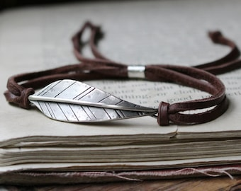 handsatamped sterling silver leaf & leather/suede bracelet ~ Strength or your custom stamped message, Made to order