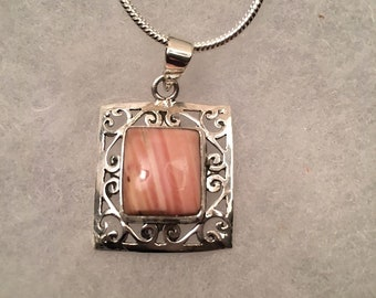 Pink Opal Gemstone Pendant Necklace in Sterling SIlver Design