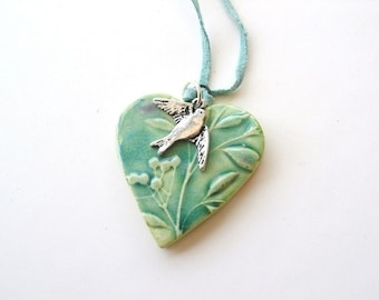 Heart pendant Spring green turquoise glaze swallow vegan suede