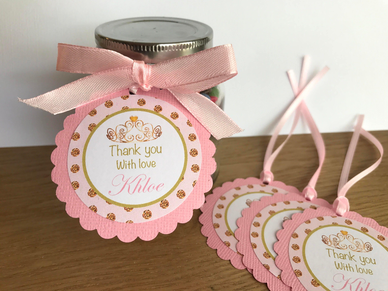 Princess Thank You Gift Tags Pink & Gold Princess Party Tag