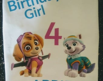 Paw Patrol Birthday Shirt/ Skye and Everest Birthday Shirt/Boys or Girls/ you choose your fav paw patrol character and font color