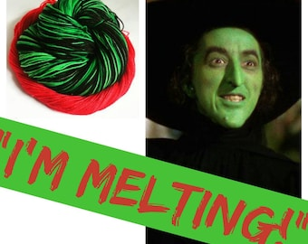 """WIZARD OF OZ Inspired """"I'm Melting!"""" on Super Sock. 500 Yards. Ready to Ship."""