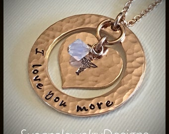 Medical Alert Necklace w/ Hidden Info -rose gold filled 1 sided washers & heart disc- chain choice -Swarovski crystal -custom wording avail.
