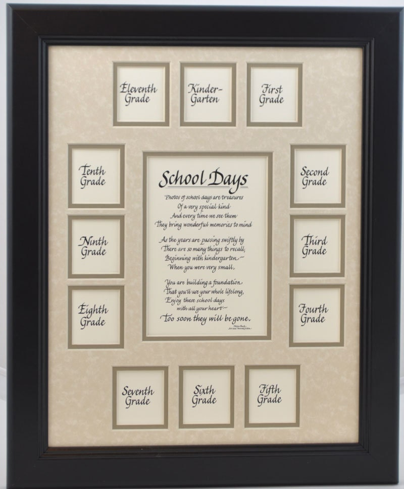11x14 School Days Wood Picture Frame K-12,13 Openings, Black Frame ...