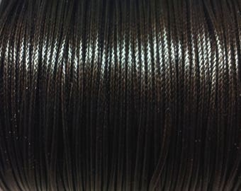 5 meters of thread - Brown waxed polyester cord - 1 mm