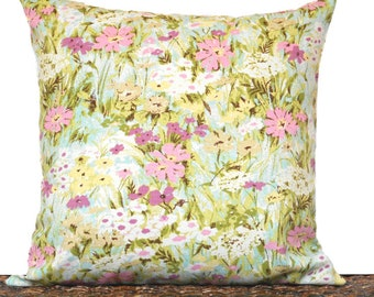 Pink Floral Pillow Cover Cushion Turquoise Yellow Green Purple Tan Cream Decorative Spring 18x18