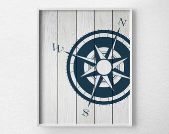 Nautical Compass, Compass Print, Nautical Decor, Nautical Print, Navy Blue and White, Nautical Compass Art Print, Beach Art, 0290