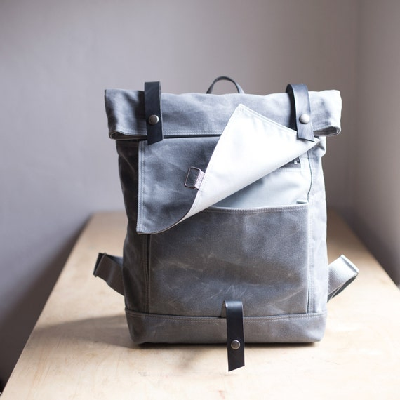 Gray Waxed Canvas Backpack by Moop
