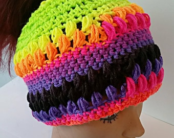 Colorful Winter Bun Hat