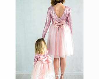Matching Mommy and Me Pink Mother Daughter Matching Dresses Outfits, Sequin Dresses Mom Baby Party Pink Tutu Dresses, Matching outfits Gift