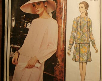 Vintage Vogue Paris Original Nina Ricci 2191 1970s 70s Dress Pattern