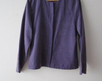 Women's Purple Romantic Jacket Long Sleeve Elegant Secretary Shirt Jacket Lilac Embroidered Summer Office Jacket Large Size