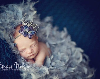 Blue Flower Headband with Feathers Swarovski Crystal Veiling for Newborns Infants Girls Adults A139