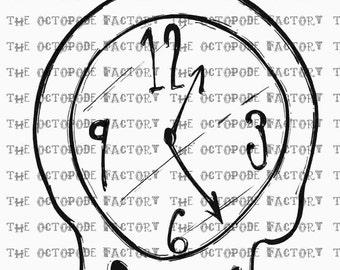 INSTANT DOWNLOAD Melting Clock digital stamp image