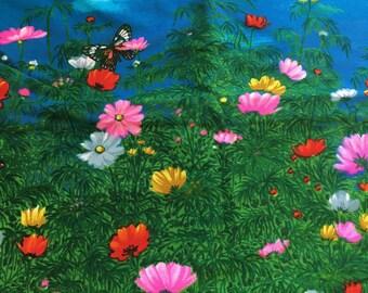 Butterfly Landscape Wesco-Reltex Barkcloth