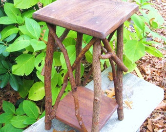 RUSTIC PLANT STAND, Side Table, Stool, Occassional Table, Adirondack Stand, Folk Art Table, Primitive, Reclaimed Wood Table, Twig Tramp Art