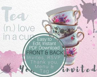 Invitation Instant Download Template, Editable Kit. Stationary personalized by you. By Helga McLeod. WC001