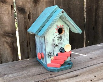 Birdhouse Functional Wood Bird House Outdoor For Garden Cavity Nesting Birds, Whimsical Hanging Cottage Birdhouses, Item #613334989