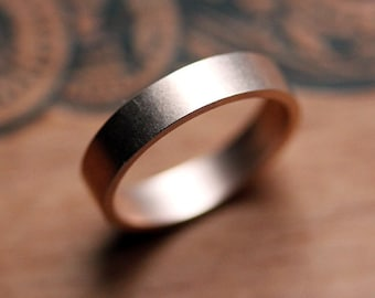 Rose gold wedding band, mens or womens wedding band, recycled 14k rose gold, brushed wedding band, 4mm flat unisex band, custom made