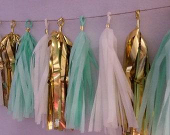 Mint Green Wedding Decorations,  20 Tassel Tissue Paper Garland, Paper Party Decorations, Tissue Tassels, Mint Green Tassel Garland, Fringe