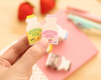 Milk Erasers / Small Gifts / Stationary / Small Gifts / Office Supplies / Cute Erasers / School Supplies / Cute Gifts / Cute Stationery