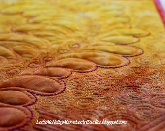 MarveLes SUMMER SUNSET  Quilted feather  table runner Home Decor Dining Decor Peach Pink Yellow Gold