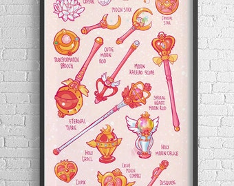 Sailor Moon Magical Items Print - 11x17 Frame Not Included