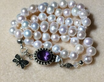 7MM White Pearl Necklace With Sterling Silver Amethyst Clasp and Swarovski Crystal AB Beads